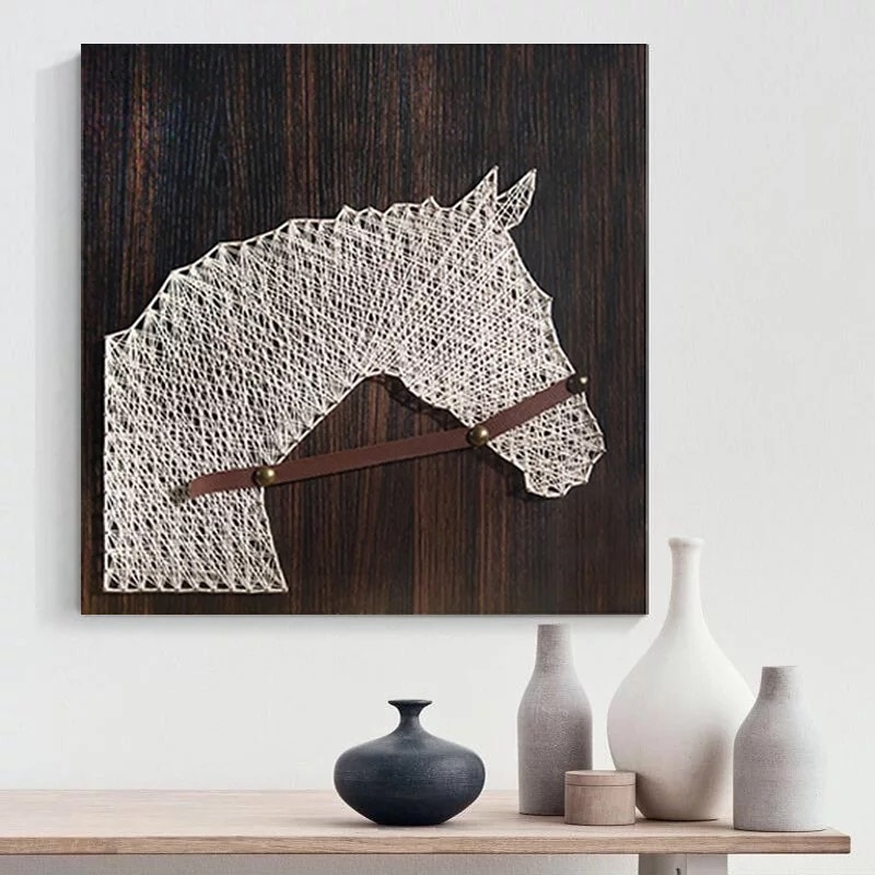 DIY string instrument kit handicraft supplies   Horse head painting, lake house decoration   Christmas gifts   Adult crafts