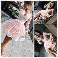 deep v neck pink short prom dresses lace illusion long sleeves short skirt appliques tulle knee length cocktail party gowns