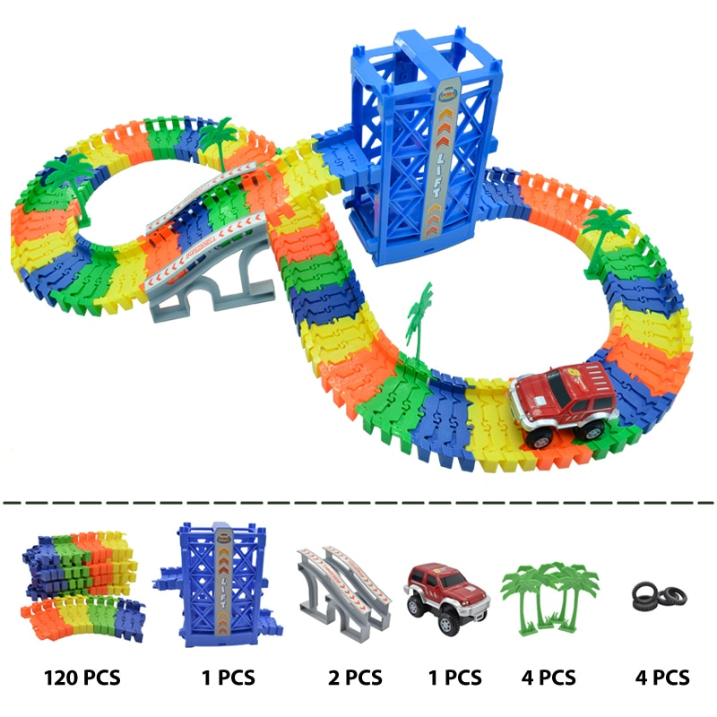 Фото - 120pcs track racing track, DIY do-it-yourself racing track, flexible racing track, electronic flash, car toys for children andy rathbone upgrading and fixing computers do it yourself for dummies