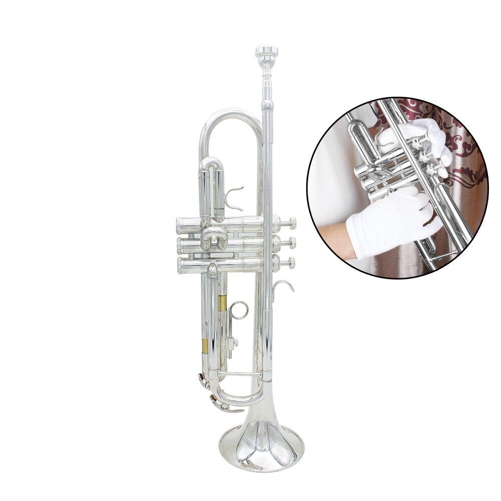 De calidad superior trompeta Bb B plana duradera latón trompeta con un chapados en plata boquilla un par de guantes y exquisito trabajo bolsa