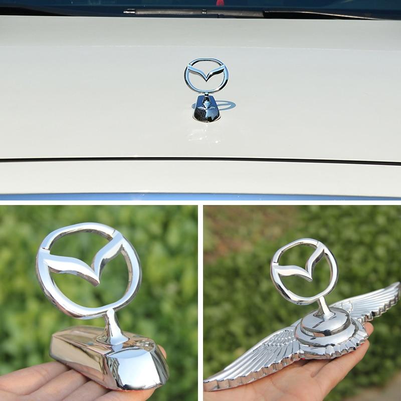 Para 6 2 3 5 CX3 CX5 CX7 CX9 MX3 MX5 RX7 Axela Atenza protegido Hood cubierta para capó 3D de plata pegatina con emblema para coche Decoración