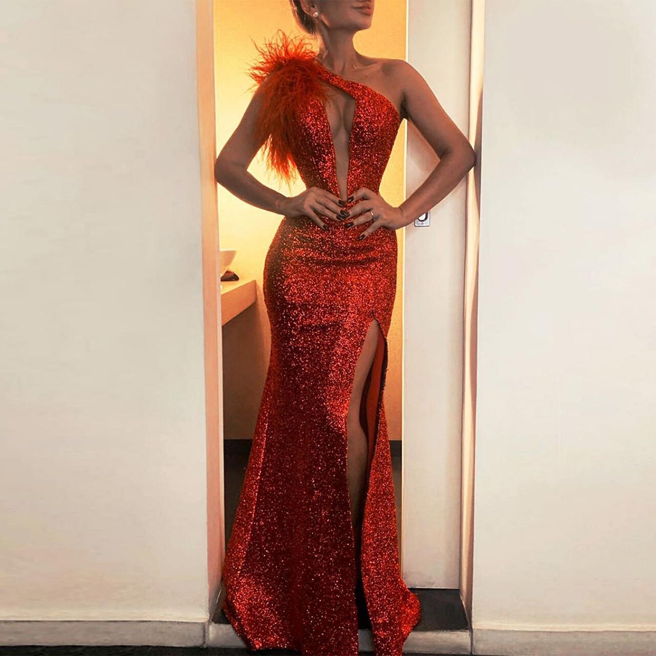 Women Feather Off shoulde Ladies Vestidos Largo Long Sleeve Party Maxi Sequin Evening Dress Prom dresses