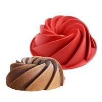large spiral shape food grade silicone bundt cake mold pan 3d fluted cake mould form bread bakery baking tools bakeware