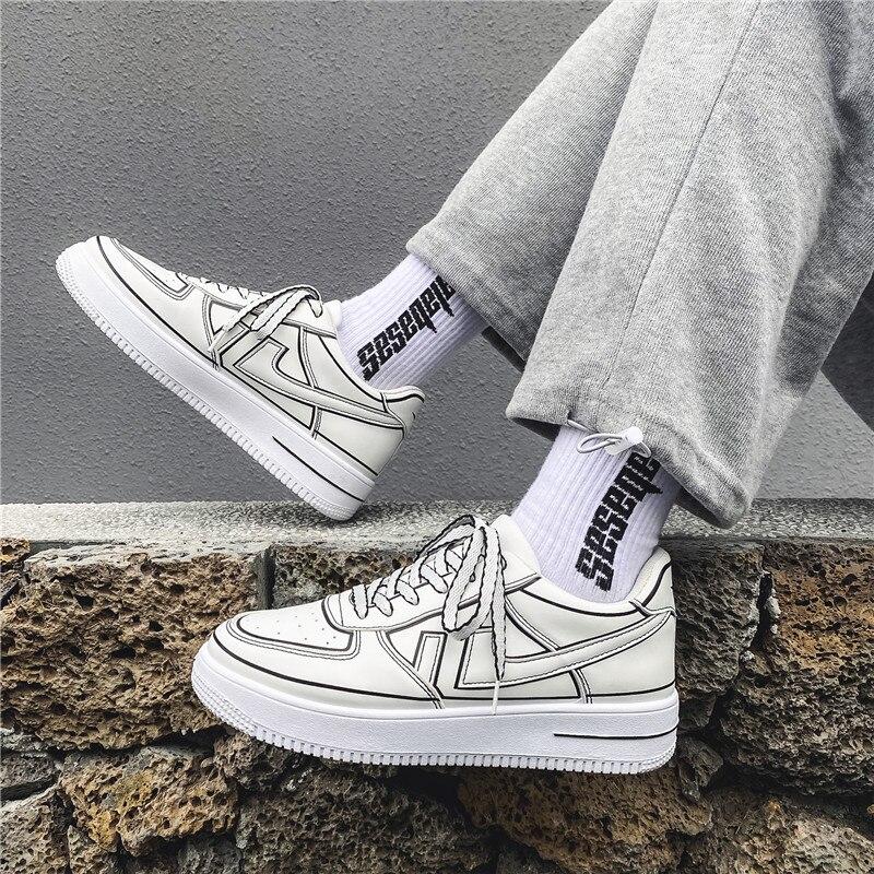 Tênis de Couro Tênis de Corrida Moda Respirável Homem Masculino Confortável Esporte Branco Antiderrapante Sapatos Casuais