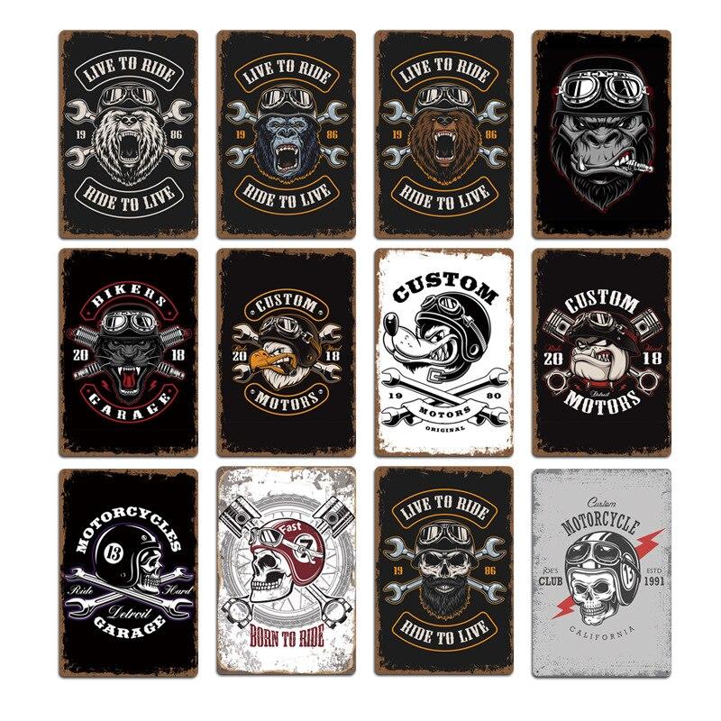 2020 nueva motocicleta cráneo Lobo signos Metal placas Pub Club decoración de pared Vintage Metal estaño signo hogar garaje decoración arte carteles