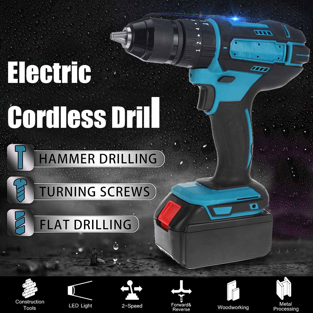 Cordless Electric Drill 68V 6500mAh Screwdriver 25+3 Torque Impact Drills 2-Speed Tools Power Driver Li-ion Battery + LED lights