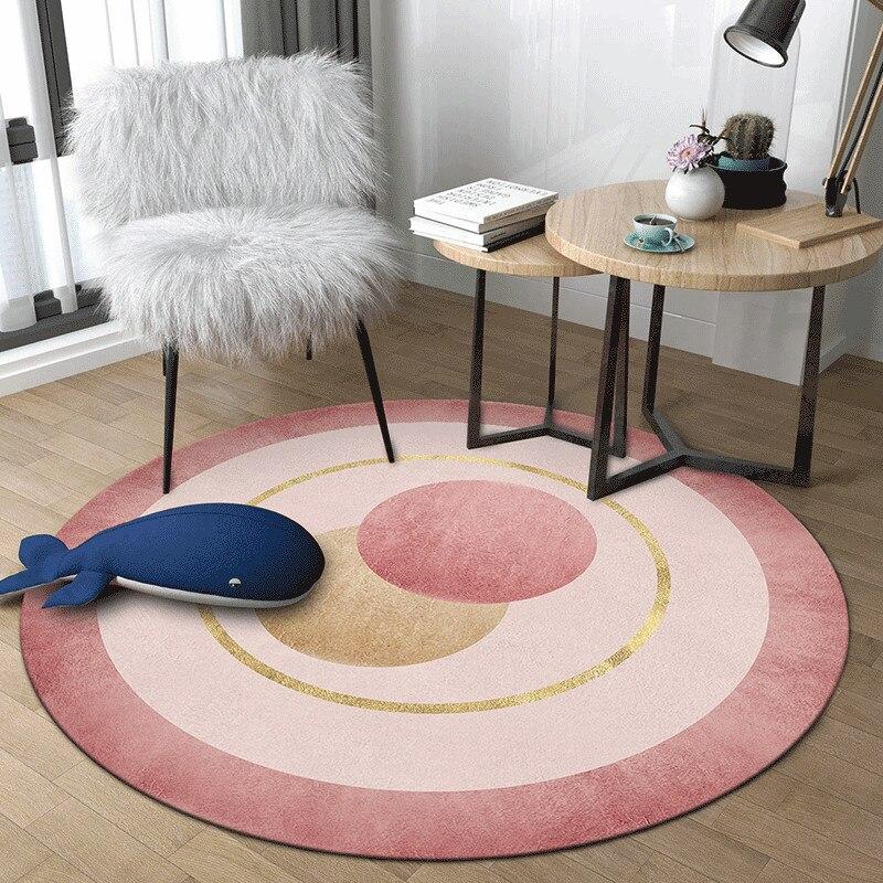 الشمال الوردي اللون الفتيات غرفة السجاد لغرفة النوم هندسية بسيطة مستديرة السجاد غرفة المعيشة الزخرفية الحديثة أريكة الطابق سجادة كرسي