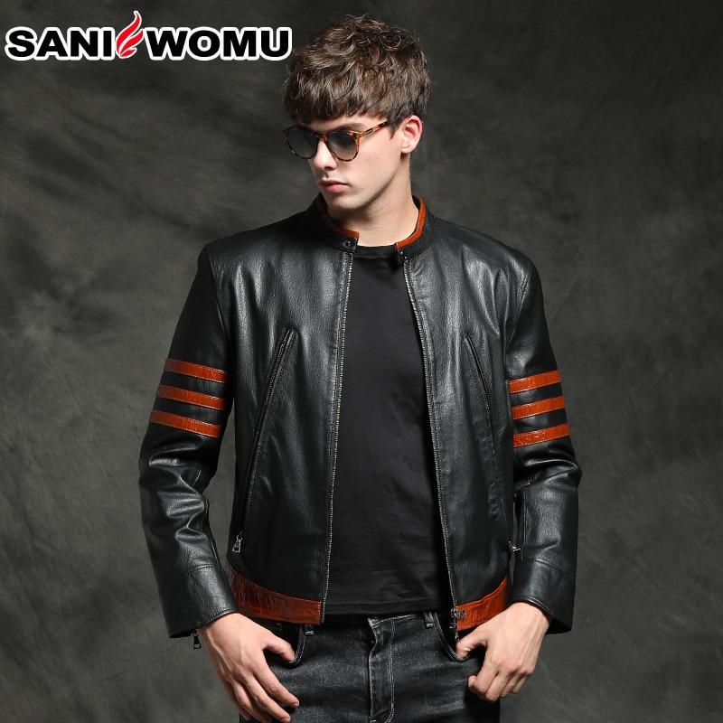 Abrigo de cuero genuino Wolverine goat para hombre, chaqueta de cuero de piel de oveja para hombre, Chaqueta corta de cuero ajustada para hombres