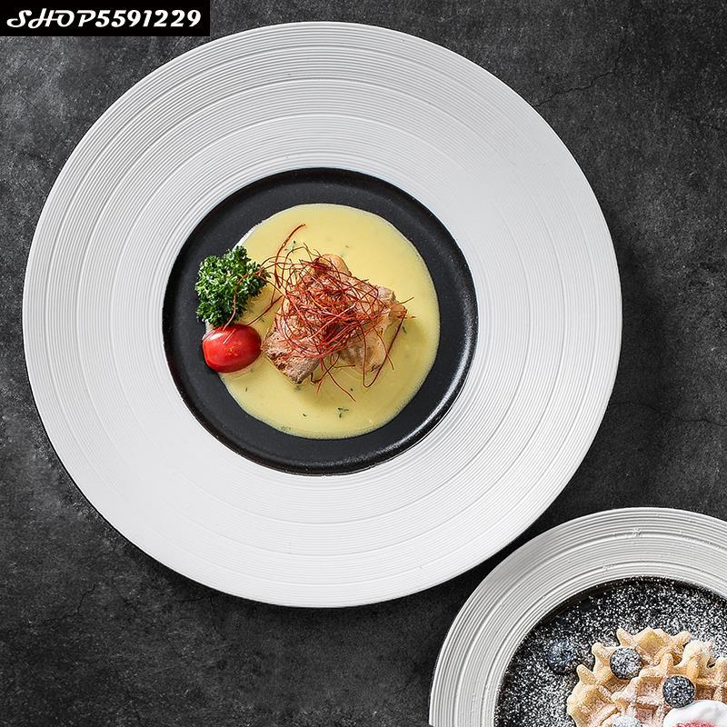 الشمال سيراميك مزخرف الغربية ستيك طبق تقديم الحلوى بسيطة المنزل السوشي الطبق الرئيسي الفرنسية الغربية مقهى عرض لوحة المطبخ أدوات المائدة