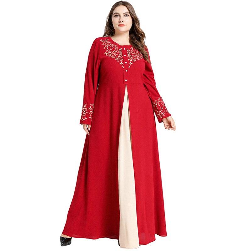 Roupa islâmica abaya vestido feminino manga longa bordado floral contraste cor elegante vestido plus size maxi vestidos longos muçulmanos