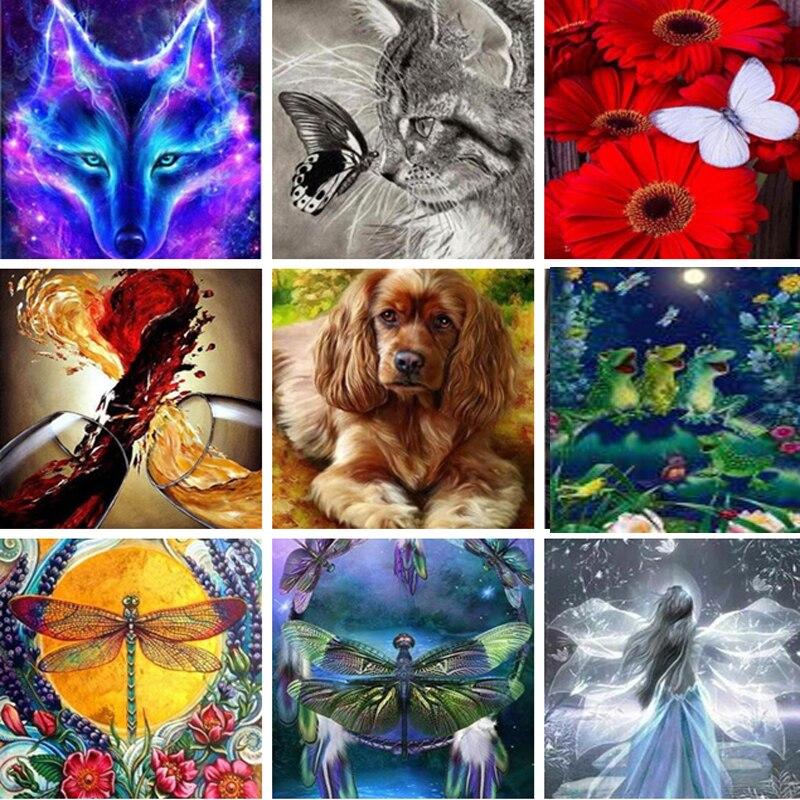 Full sjare5d DIY diamante Lobo perro mariposa paisaje bordado animal diamante Cruz Stitch mosaico pegatina regalo