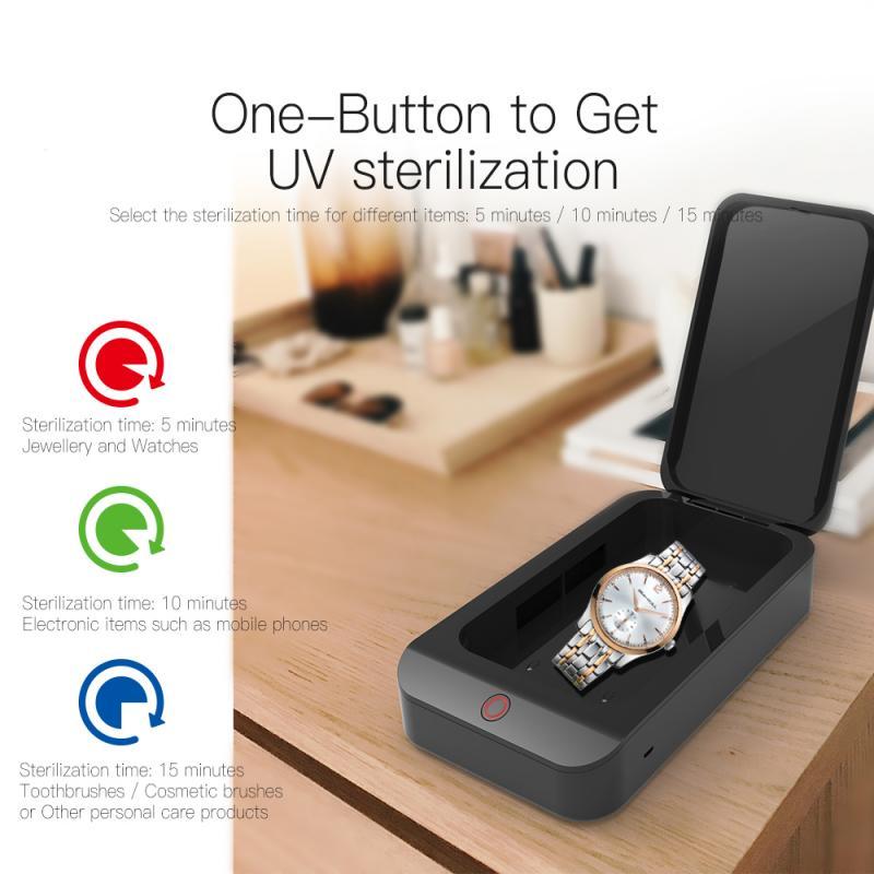 5 em 1 caixa de esterilização multifuncional esterilização uv desinfecção de carregamento sem fio do telefone celular cosméticos e telefone