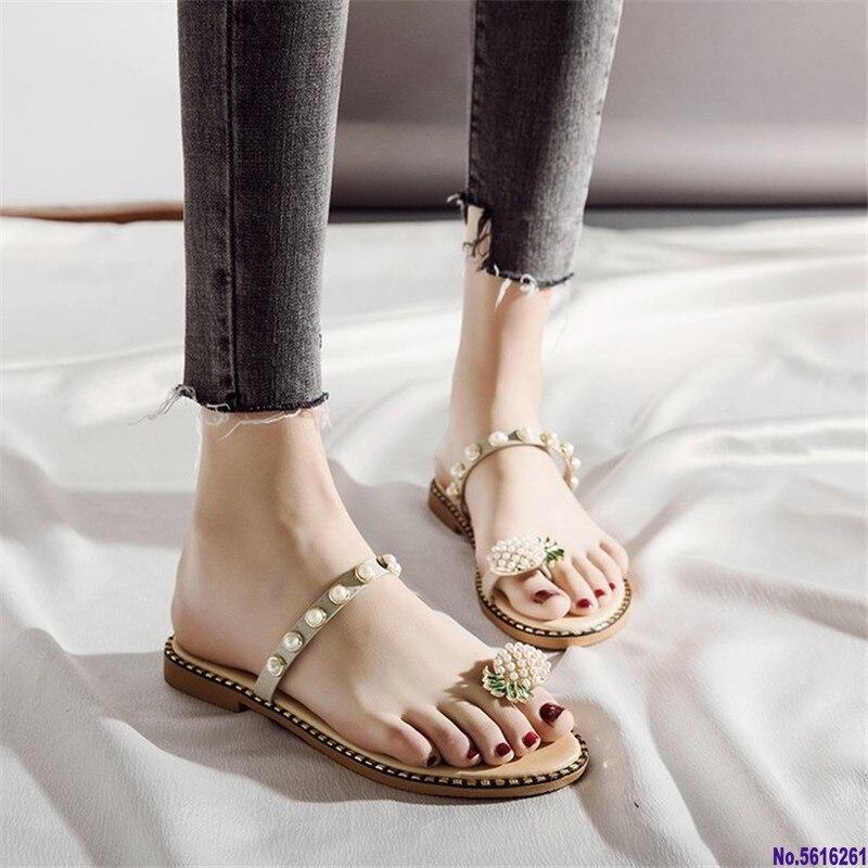 ¡Oferta de verano 2020! Sandalias de tacón plano para mujer, sandalias bohemias con anillo en el dedo del pie, zapatos planos ananas, toboganes de vacaciones al aire libre 35-39