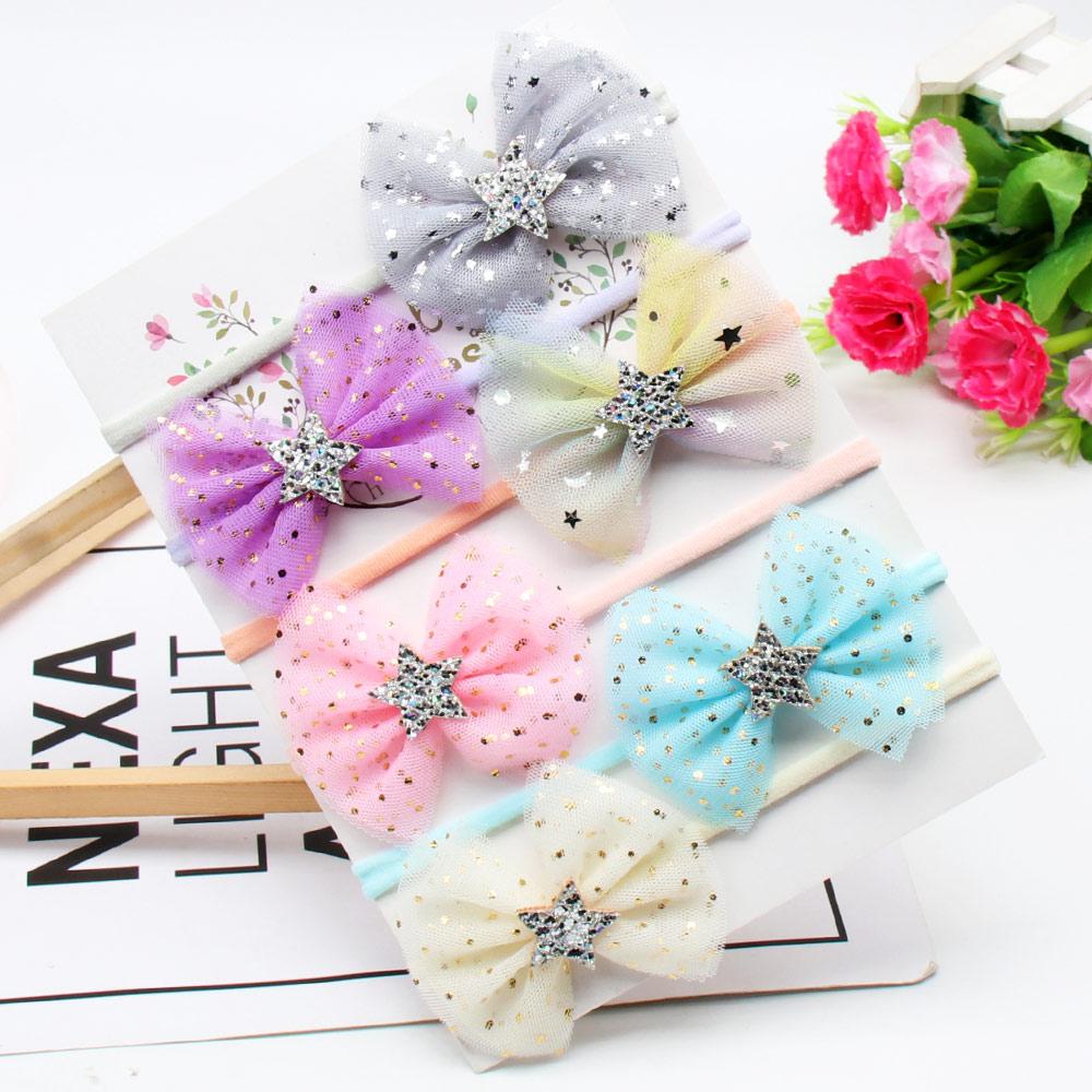 6Pcs/lot Headband for Girls Handmade Glitter Organza Hair Bows Nylon Bands Baby Kids Headwear Cute Accessories