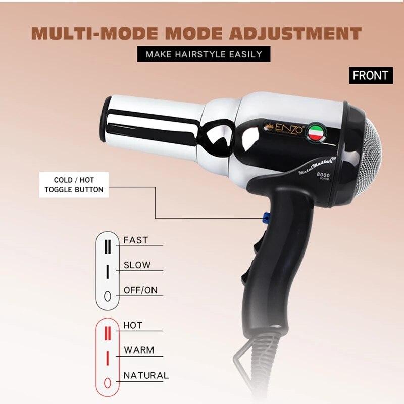 8000W Metal body Salon Professional Hair Dryer Volumizer Negative Ion Blow Dryer Brush Smoothing Hair straightener Hair styler enlarge