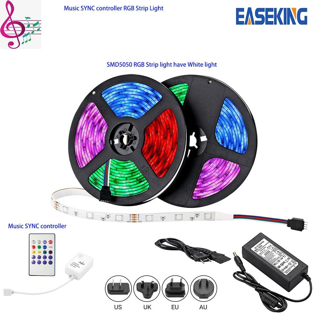 Tira de luz LED 10m 5m SMD5050 Flex RGB sincronización de música con controlador de sincronización de música cinta de diodo cinta de luz RGB 16,4 pies 32,8 pies