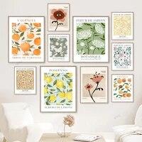 WTQ     toile de peinture abstraite avec fleur de citron et oeil Orange  affiche retro avec plante  decoration murale