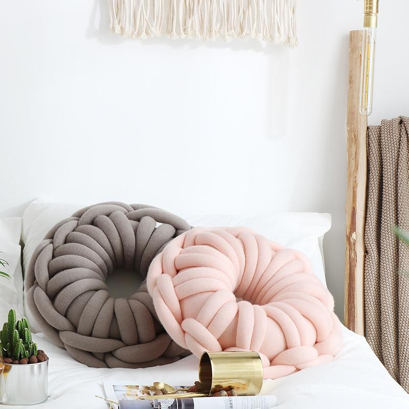 وسادة على شكل حلقة معقودة يدويًا ، وسادة على شكل دونات ، حلقة مخصصة ، لتزيين المنزل والسيارة ، لسرير الأريكة ، جديد
