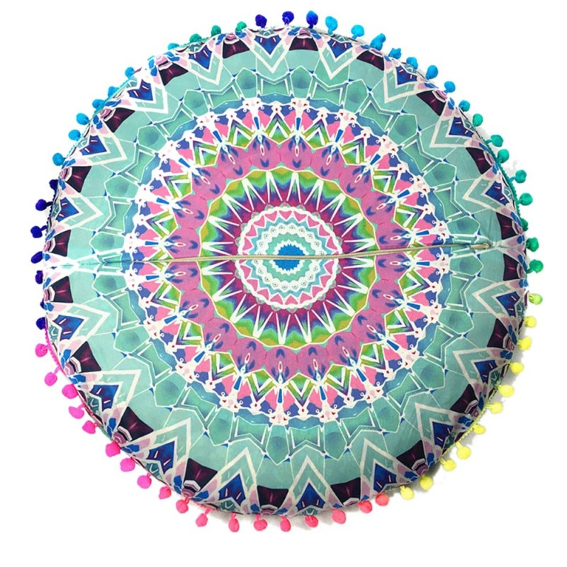 43*43 CM redondo indio Mandala piso redondo bohemio almohadas funda de almohada de Color funda de almohada textil