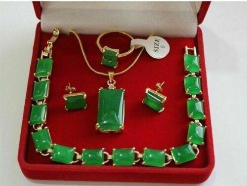 Beautiful green jade 18K GP Necklace Pendant Bracelet Earring Ring Jewellery set