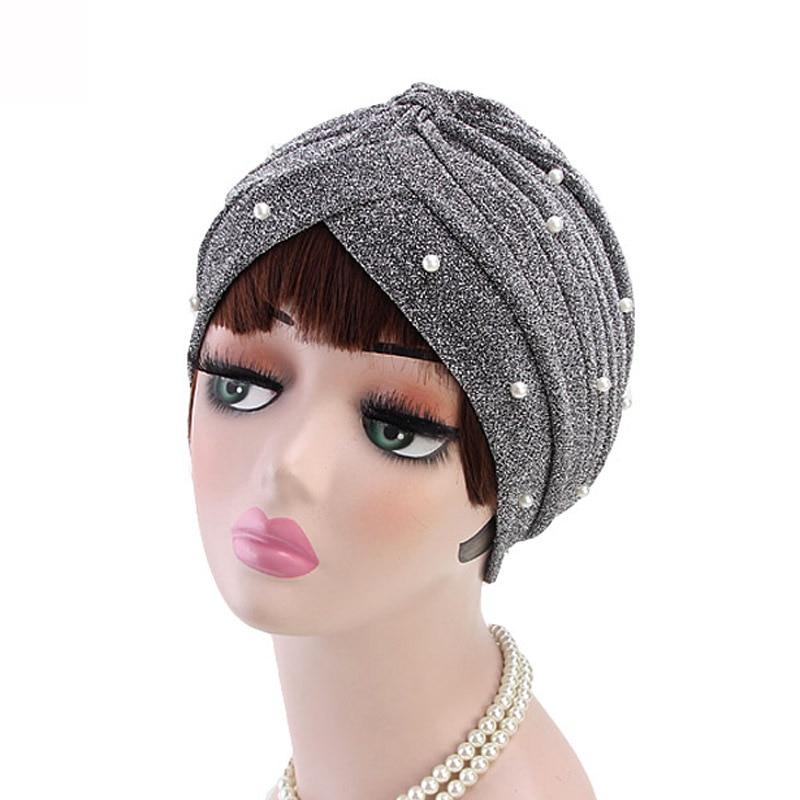 Elastic Inner Hijab Caps Women Knot Twist Turban Cap Shiny Gold Silver Headbands Fashion Pearl Muslim Indian Hats Femme Headwear
