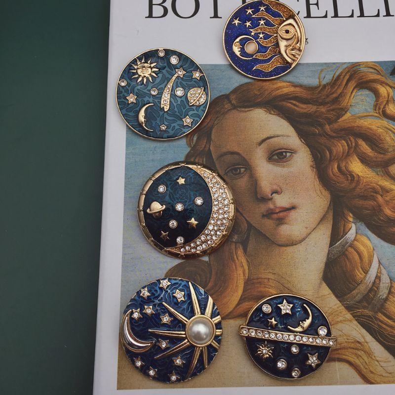 Estrella azul cielo, Luna, Sol, galaxias insignia Pins cielo estrellado broche del planeta Pins