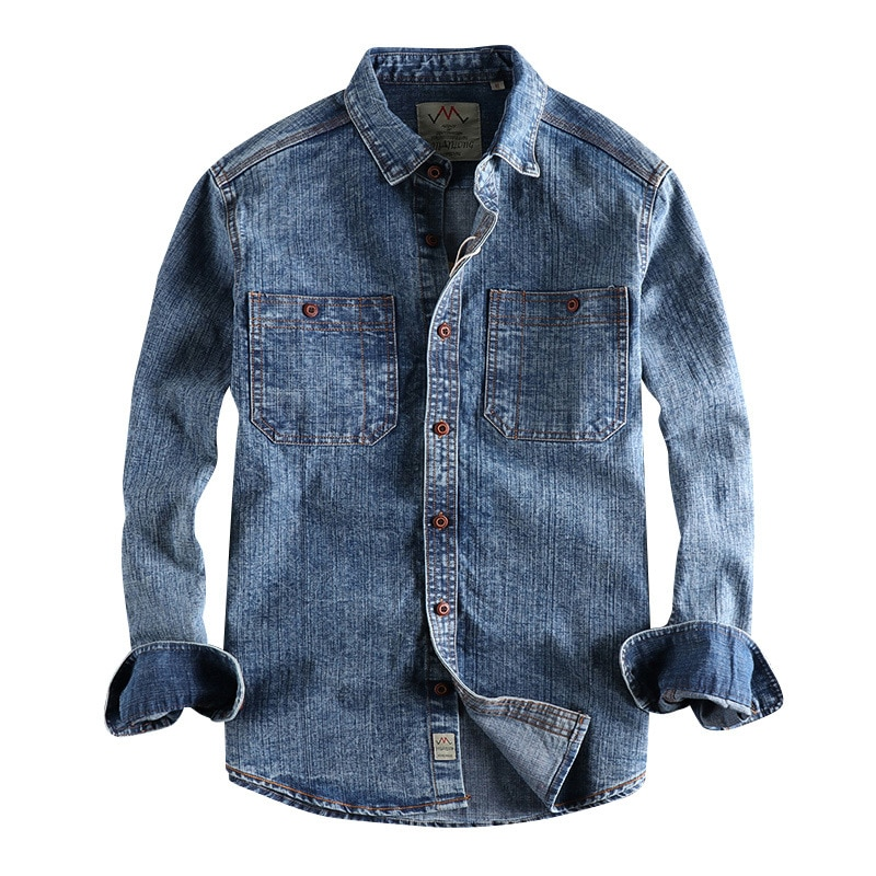 اليابانية Harajuku المتعثرة قمصان دنيم للرجال 2021 خريف شتاء الرجال الشارع الشهير زر حتى قميص قطني بكم طويل الأزرق جان قميص