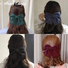 Temperamento de Color sólido de gasa cinta grande Barrette Bow horquilla para mujeres niñas Satén de moda Clips para el cabello accesorios para el cabello