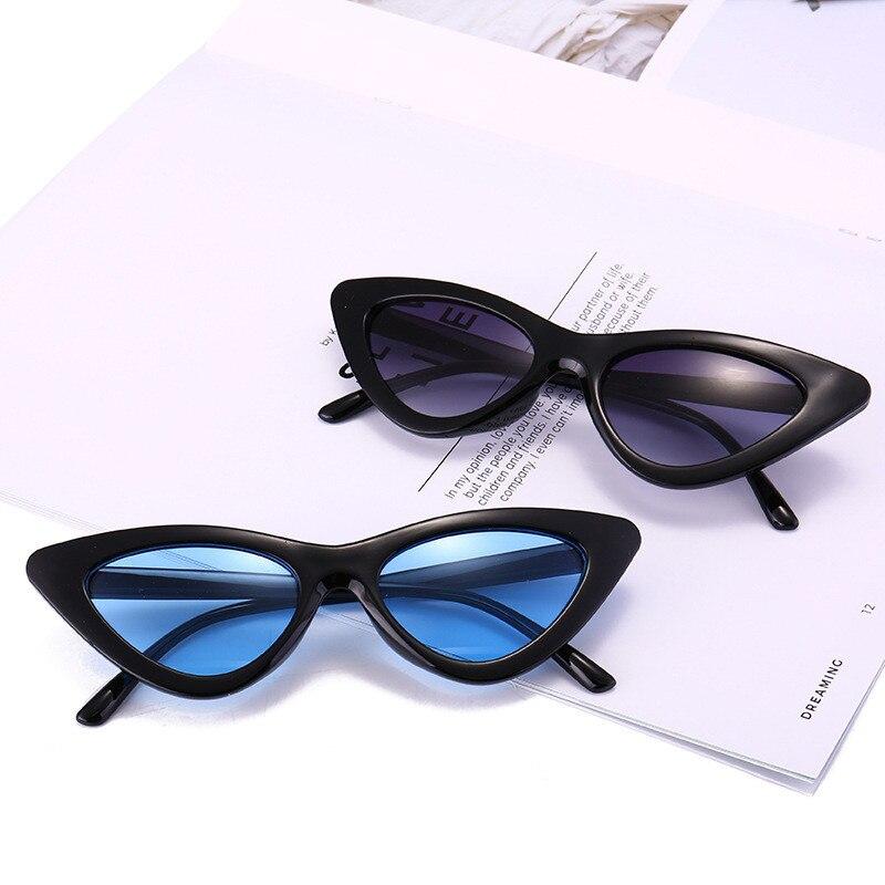 Солнцезащитные очки «кошачий глаз» UV400 женские, милые пикантные винтажные небольшие треугольные солнечные очки в стиле ретро, чёрные белые,...