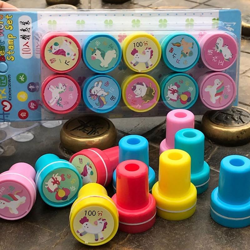 10 unids/set niños juguete de dibujos animados animales niños Pony sello juguete para estudiantes Premio Scrapbooking Stamper DIY pintura foto álbum Decoración