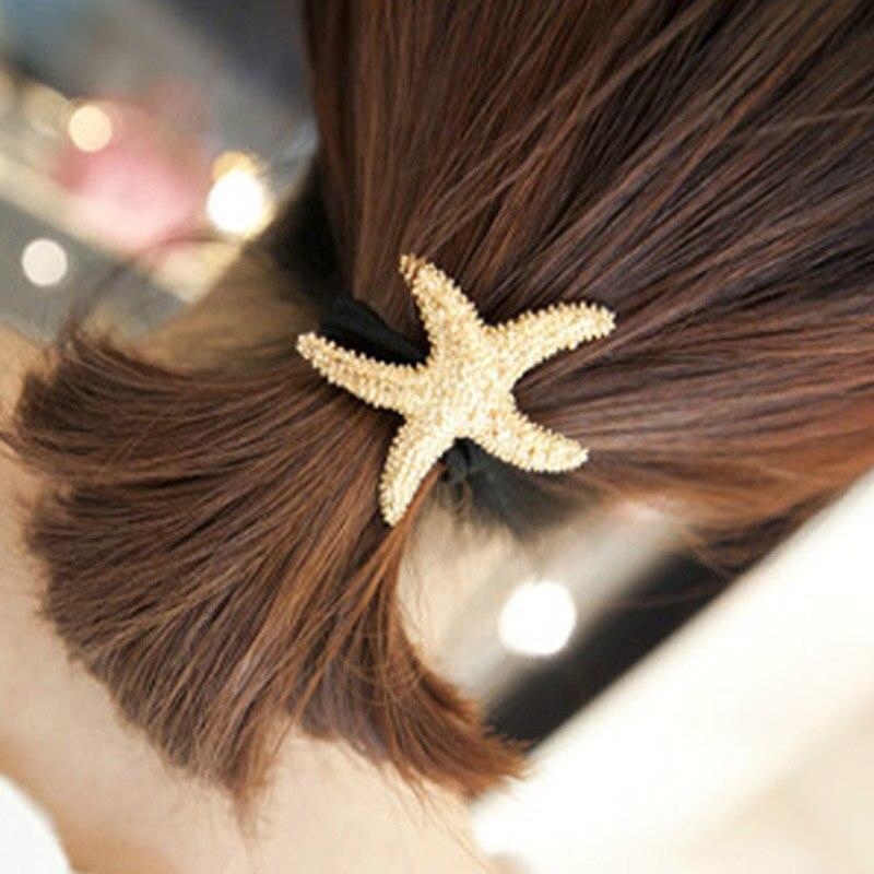 Banda de pelo cuerda estrella de mar dorada Pelo elástico cierre tocado banda de goma LDO99