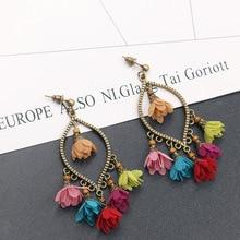 Bohemia Vintage Antique bronze Hollow Arrow Palm Flower Wings Moon long tassel Dangle Earrings for women Ethnic Tassel earrings