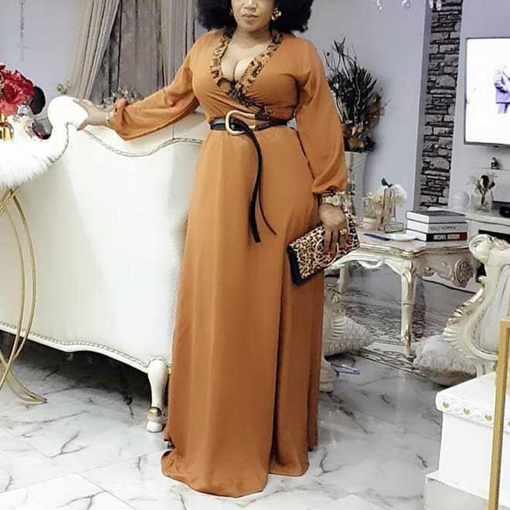 African Dresses Long Brown High Waist Full Sleeve Floor Length Elegant Evening Night Party Vestidos Mujer Dress 2021 Summer New