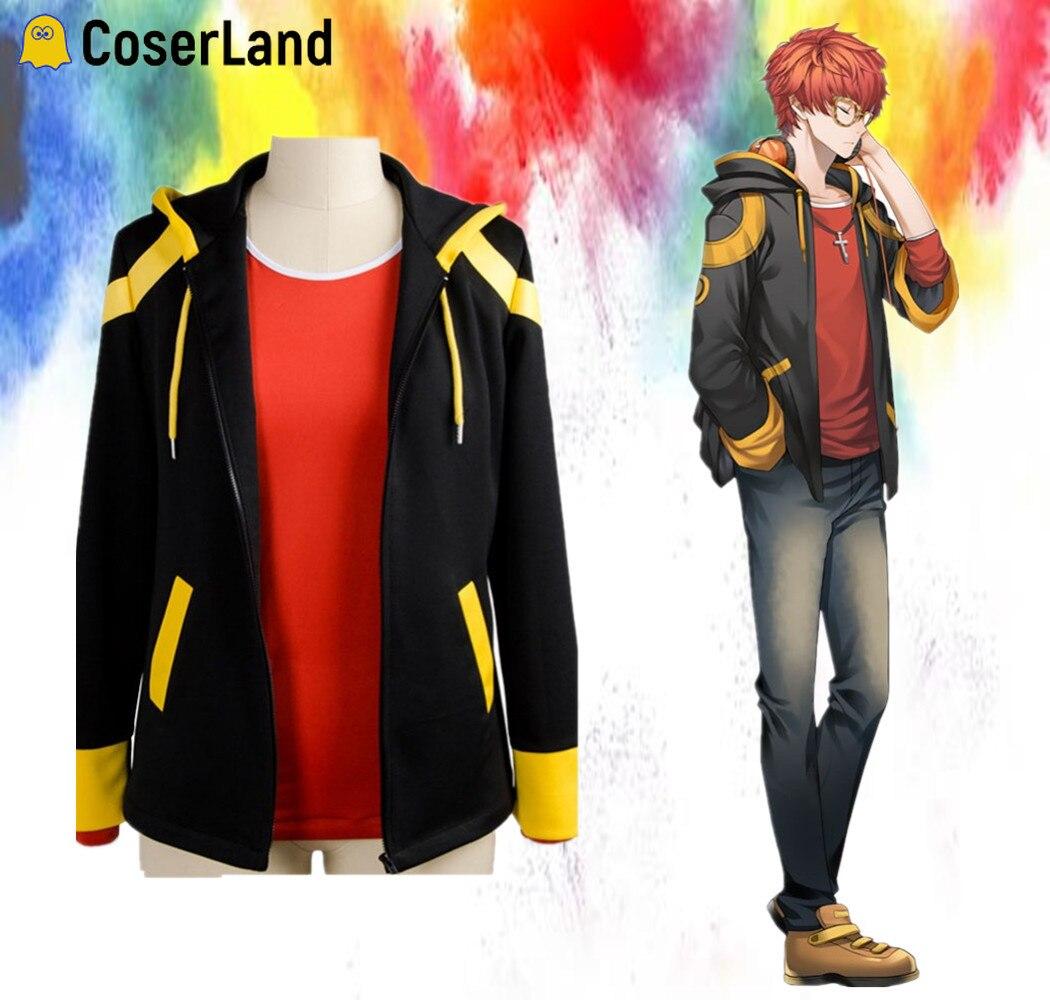 707 Cosplay Kostüm Mystic Messenger Saeyoung Choi Cosplay Zipper Jacke Luciel Sieben Hoodies 707 Rot T-shirt Kurze Orange Perücke