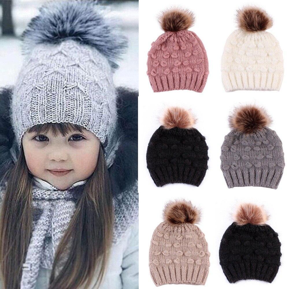Lindo niño niños niñas niños abrigo invernal crochet tejido sombrero infantil bebé gorro sólido con lindo Pom Ball moda Casual Cap