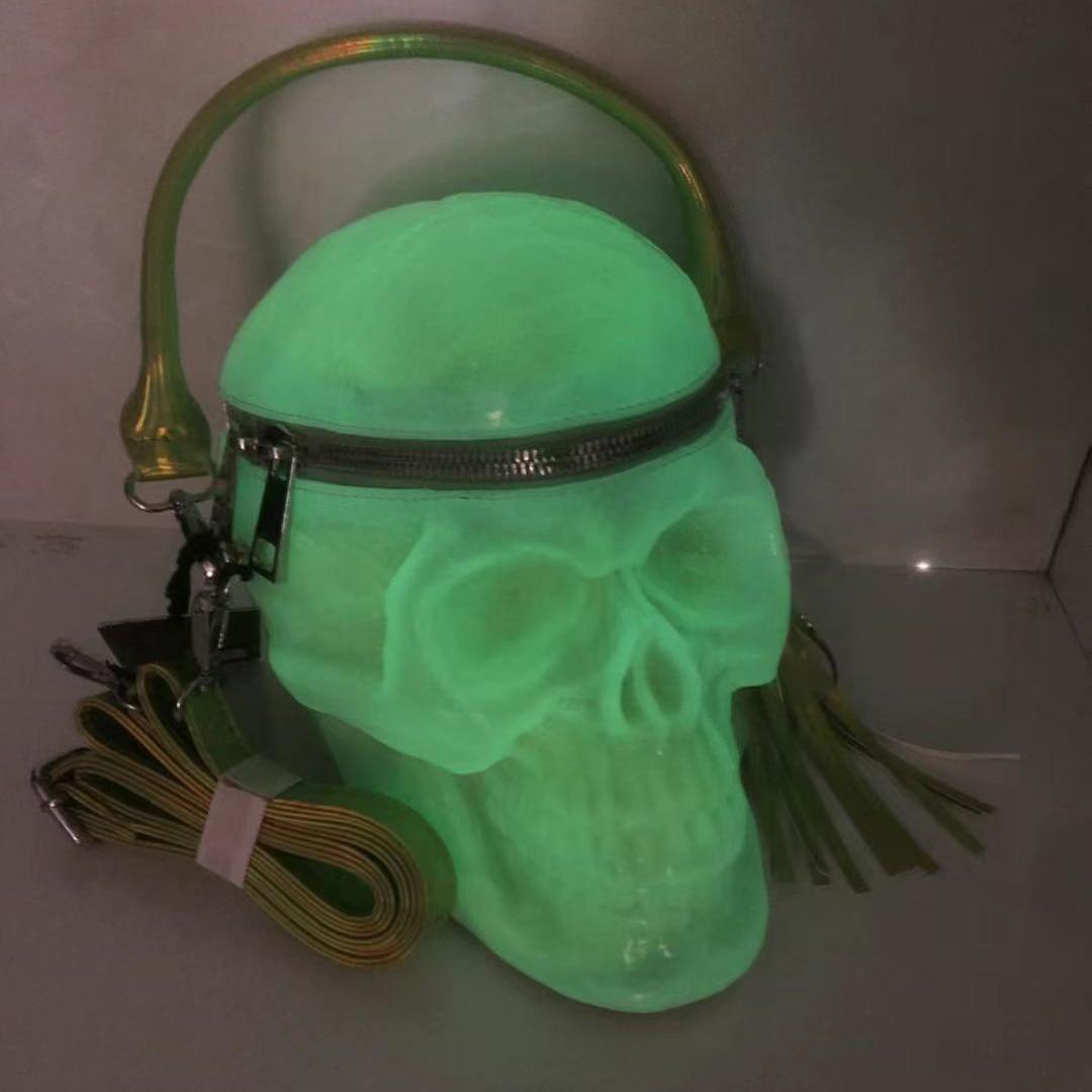أكياس الجمجمة ثلاثية الأبعاد محفظة الفلورسنت الأخضر القوطية حقيبة كروسبودي للنساء حقيبة كتف مضحك جيريس أنيق روك الشرير حقيبة حفلات