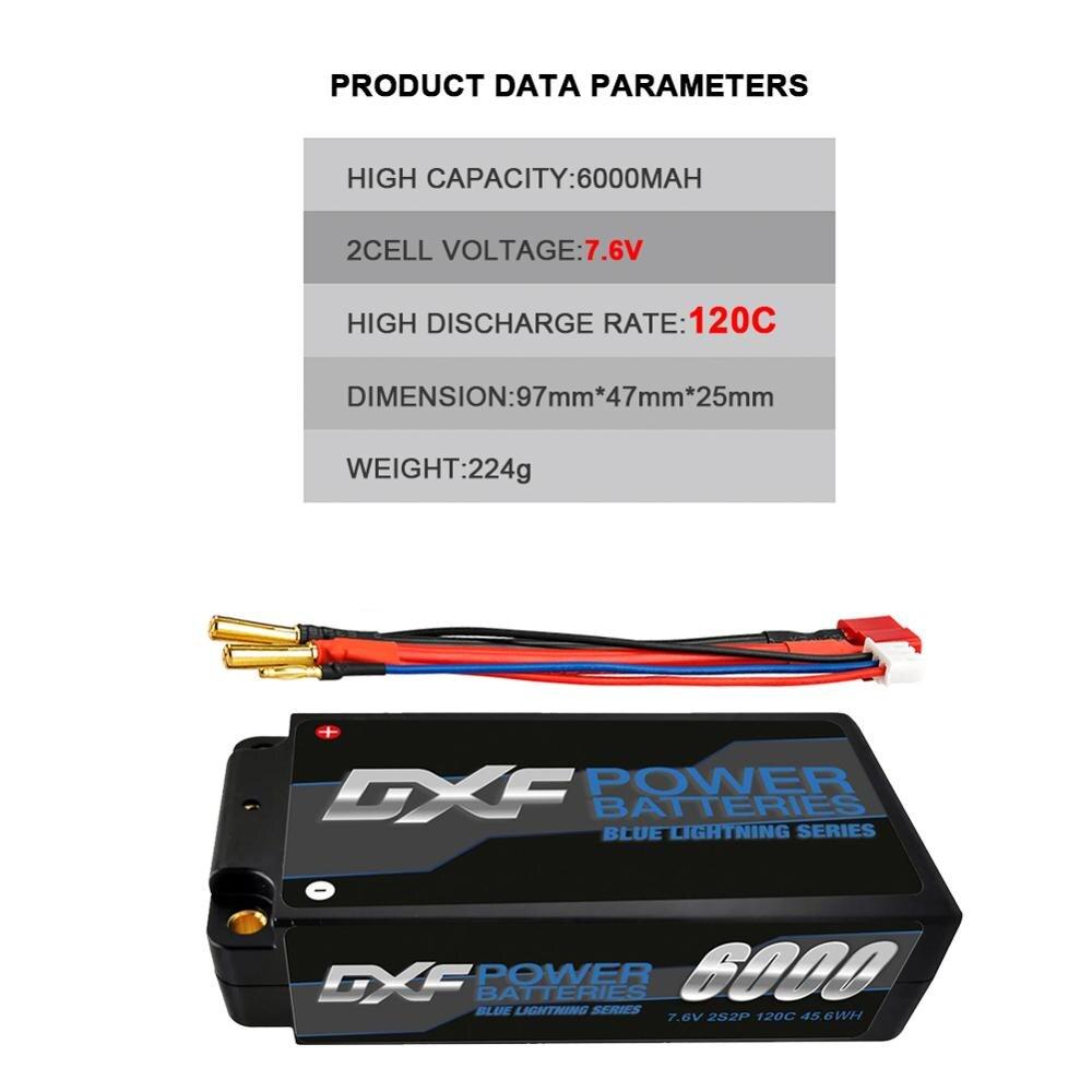 DXF Lipo Battery 2S 7.6V 6000mAh 120C HV 4.35V  5mm Shorty for RC HPI HSP 1/8 1/10 Buggy RC Car Truck Axial Scx10 off-road car enlarge
