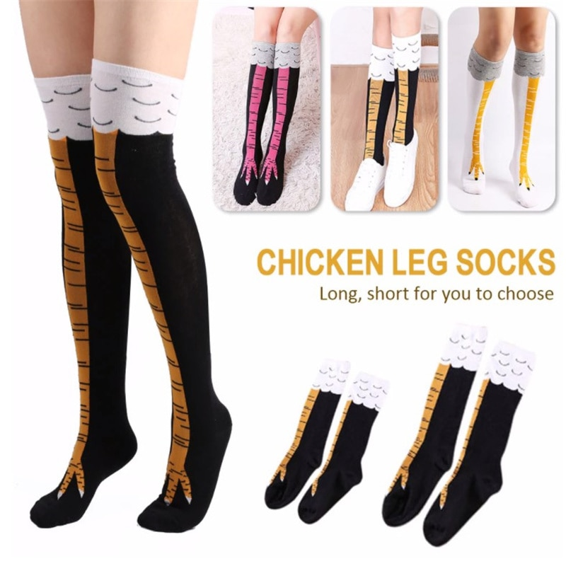 High Quality Creative Chicken Women Over The Knee Cartoon Cotton Chicken Paw Ladies 3D Print Funny Animal High