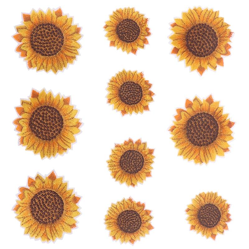 5 pcs/lot bricolage fer sur coudre sur fleur autocollant brodé tournesol Patch jean pantalon chaussures sacs tissu Appliques à la main Badge