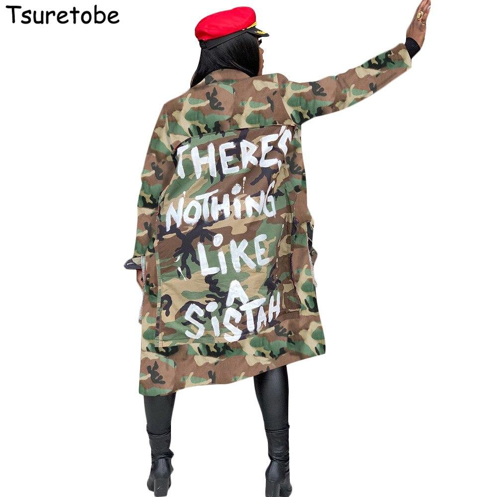 Tsuretobe-معطف نسائي مموه ، معطف واق من المطر ، مقاس كبير ، معطف مطبوع بأحرف غير رسمية ، معطف بجيوب بأكمام طويلة ، ملابس خارجية نسائية