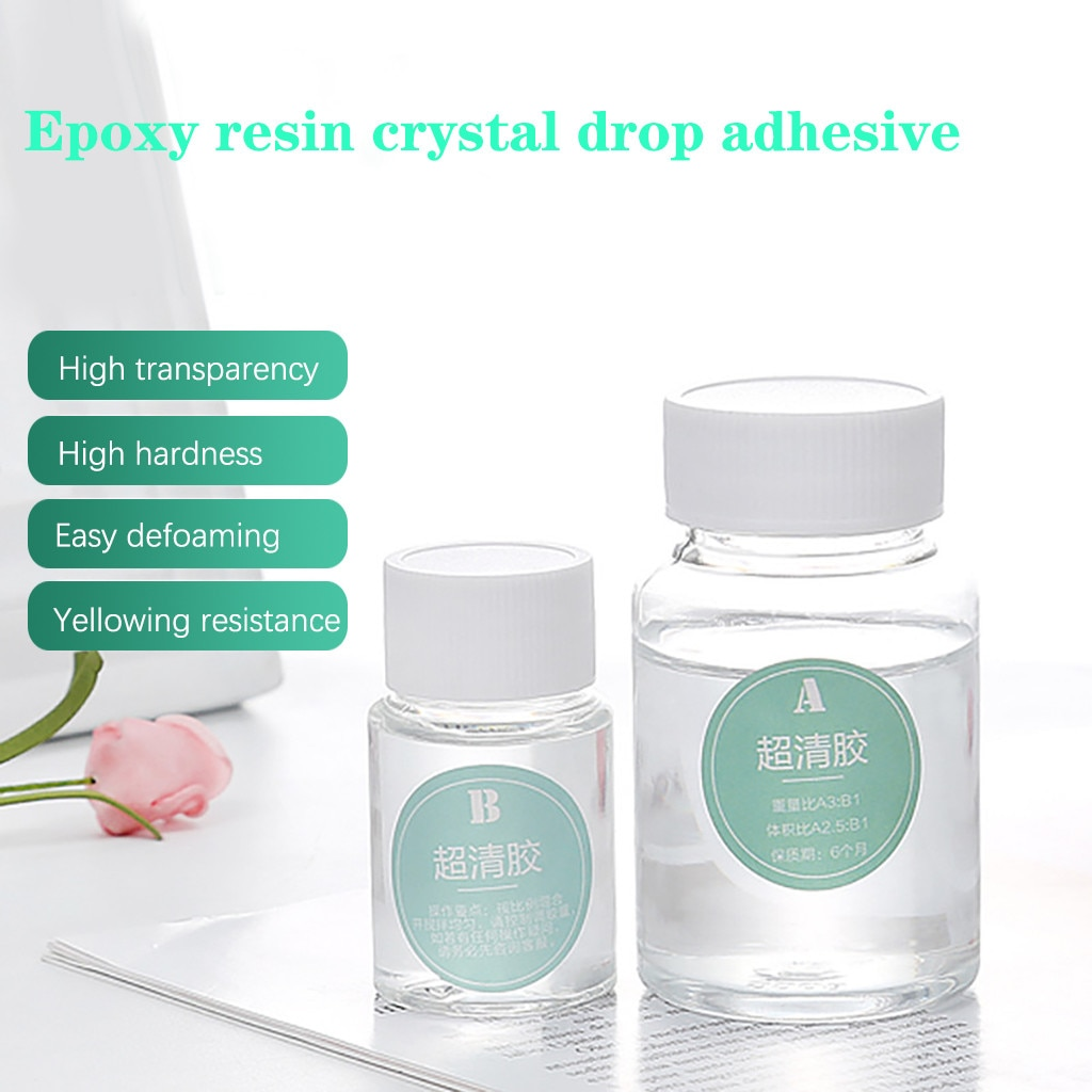 1 Set de pegamento de cristal adhesivo de alta calidad, herramienta de accesorios de endurecedor mixto, fabricación de joyas, resina de bricolaje, resina epoxi transparente, resistencia a solventes # T3
