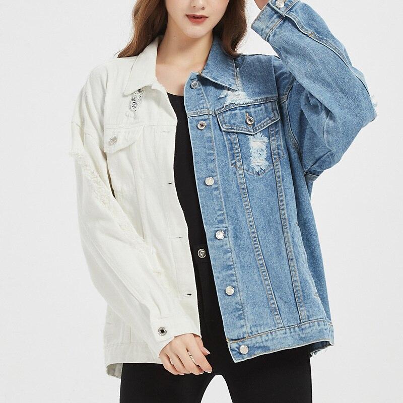 Женская джинсовая куртка в уличном стиле, демисезонные куртки, джинсовый топ для девушек, крутая комбинированная сине-белая куртка, джинсов...