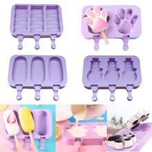 New 2/3-Cell Silicone Cartoon Rabbit Paw Ice  Cream Mold Tray DIY Maker Tool