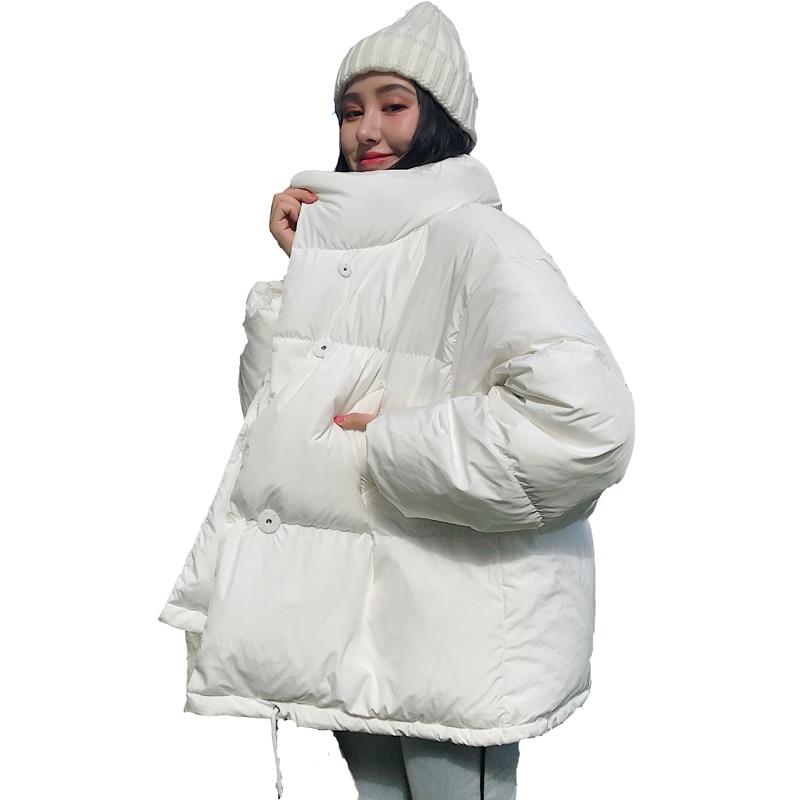 Chaqueta burbuja gruesa de invierno para mujer, parka Lisa para mujer 2020, estilo coreano, cuello levantado, algodón acolchado, abrigos holgados para mujer, chaquetas