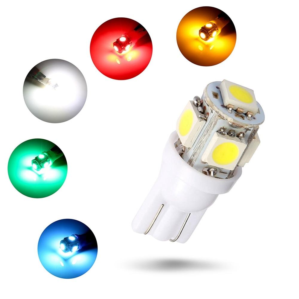 LED lamp 10PCS 5050 5SMD 194 168 LED White Blue Green Red Yellow Purple Multi Color Side Wedge Light Bulb(6 Color) LED bulb