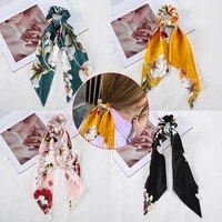 1pc fashion floral print bow long ribbon ponytail scarf hair tie scrunchies women girls elastic hair bands hair accessories