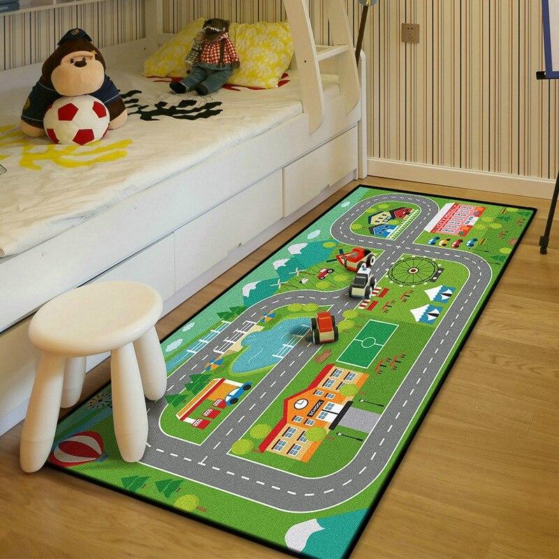 Bebé niños dormitorio cabecera antideslizante alfombra de piso suave arrastrándose alfombras de área coche pista Tapete juguete de aprendizaje de alfombras de los niños tienda de