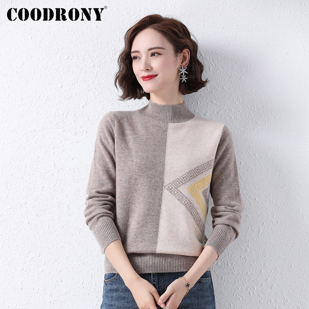COODRONY Brand Elegant Casual Fashion Female High Quality Sweater Autumn Winter Knitted Women Soft Merino Wool Pullover W1512 enlarge