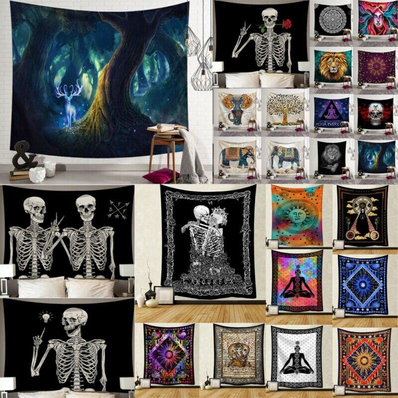 Tapiz Mandala colgante de pared, tapiz de Luna y sol, tapiz psicodélico de cráneo, polilla, tapiz de pared de dormitorio, Mandala, tela india, Yoga en la playa