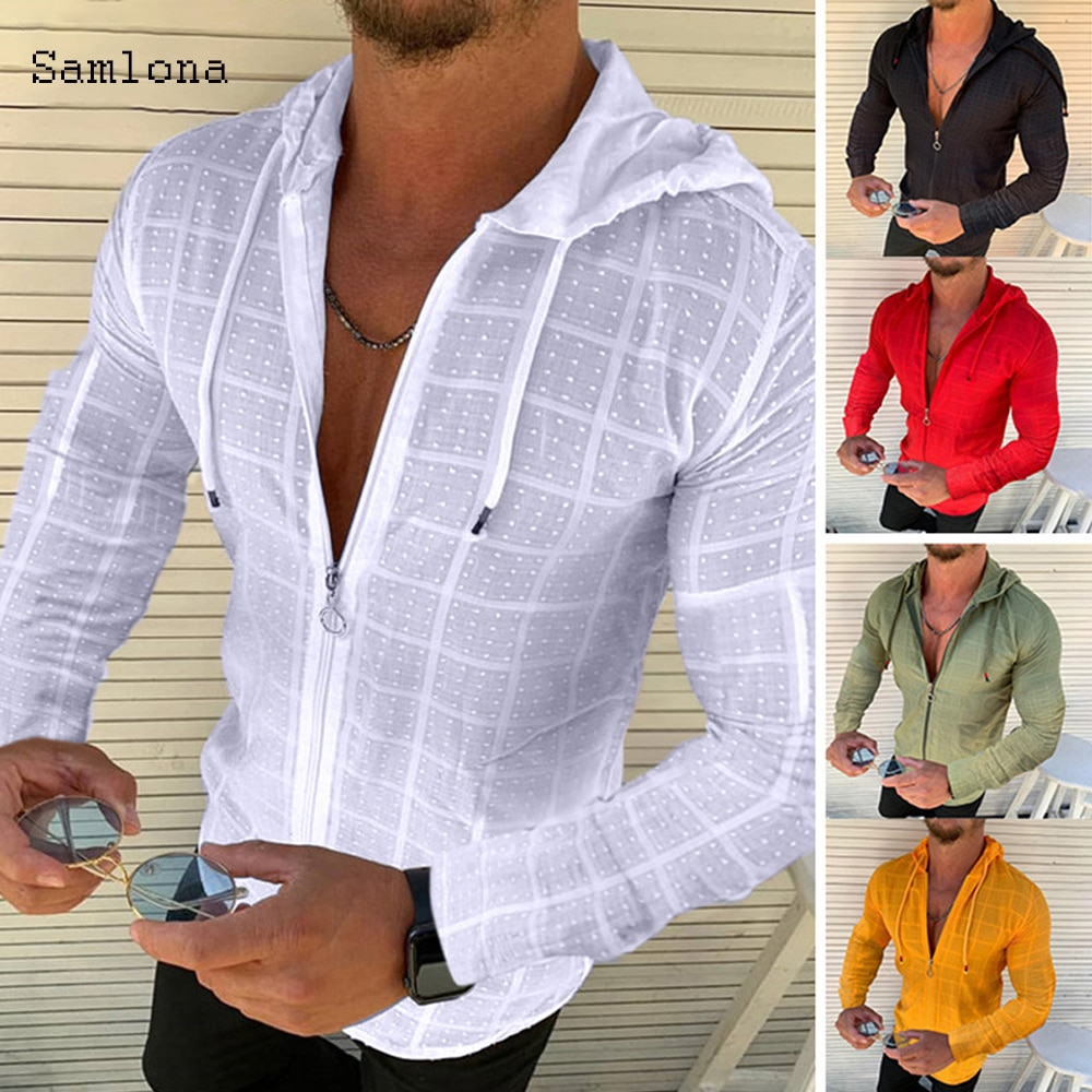 Summer European And American New Men's Casual Fitness Running Sports V-Neck Zipper Hooded Striped Shirt Loose